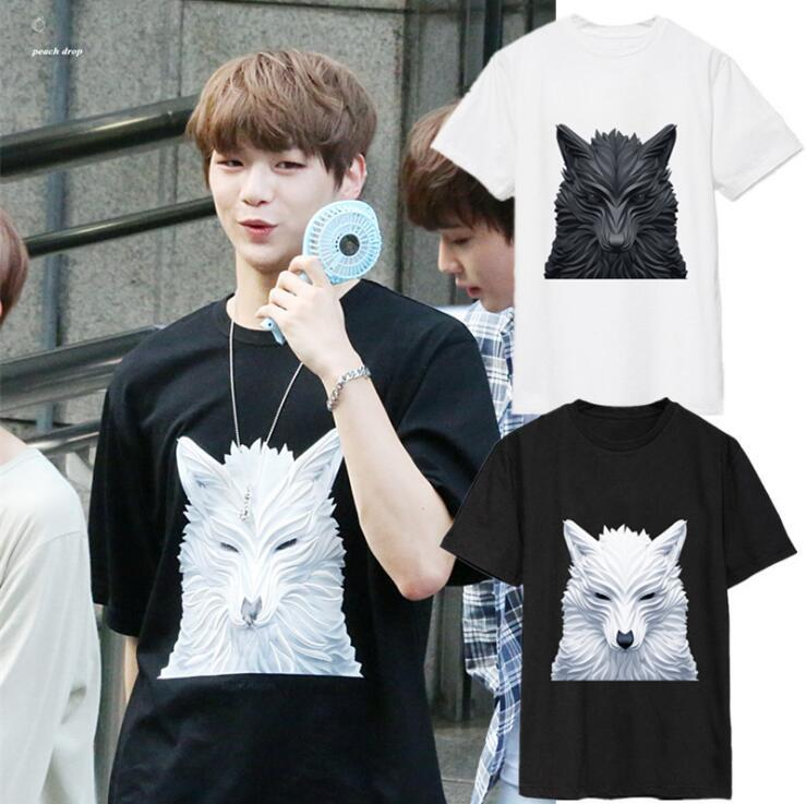 New Kpop WANNA ONE KANG DANIEL The Same Loose Handsome wolf head couple Summer Short Sleeve Tshirt