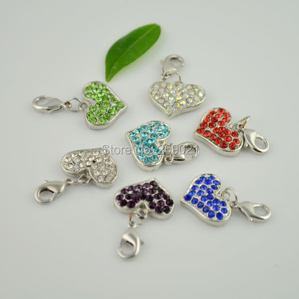 100pcs Mixed Rhinestone Crystal Clip On Heart Shape Charms Fit Link European Chain Bracelets
