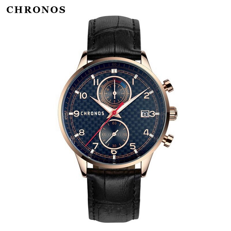 Mens Watches Top Brand Luxury CHRONOS Sports Watch Men Military Leather Quartz-watch Waterproof Male Clock Relogio Masculino