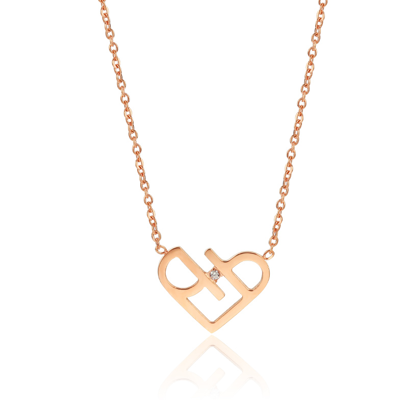 YUNRUO Rose Gold Color Elegant Heart Pendant Necklace Earring Set Stainless Steel Woman Fashion Jewelry Birthday Gift for Girl