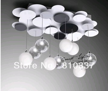 NEW 2013 Modern brief fashion 60cm 9 balls G4 metal disc style ceiling light lamp bedroom lighting dining room hotel free shippi