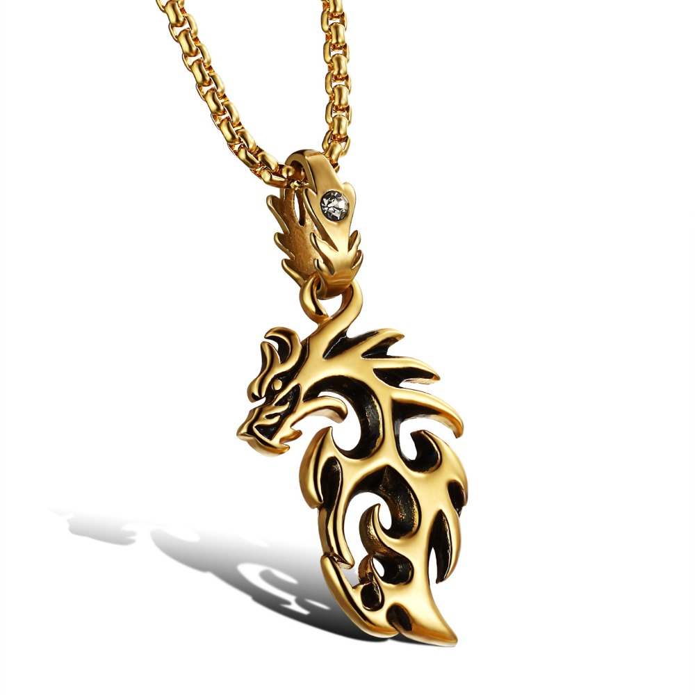 Fashion Gold Silver 2 Colors Dragon Pendant Necklace 316 L Pure Titanium Steel Fine Jewelry wholesale Free Shipping GX810